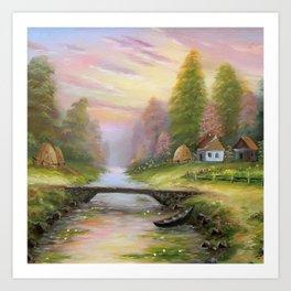 Pink sunset tune Art Print