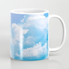Blue sky with white clouds and sun. Nature background Coffee Mug