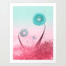 Reaching Up (turquoise and red edition) Art Print