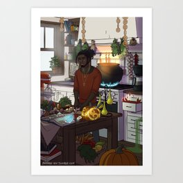 Modern Male Witch Kitchen Art Print