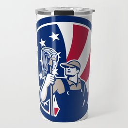 American Industrial Cleaner USA Flag Icon Travel Mug