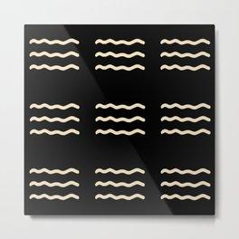 WAVY LINES . BLACK AND IVORY Metal Print