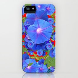 CHINESE RED & BLUE MORNING GLORIES ART  iPhone Case