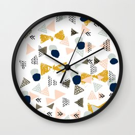 Minimal modern color palette navy gold abstract art painted dots pattern Wall Clock