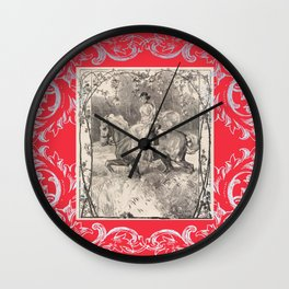 Lady in red on a horse Wall Clock
