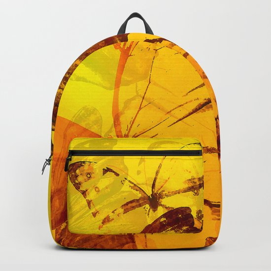 Lovely butterflies in sunset color - summer beauties on orange background Backpack