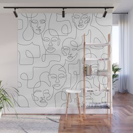 Figured Faces Wall Mural