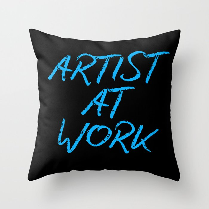 Artist at Work (blue) Throw Pillow