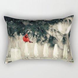 Snowy Day Cardinal Rectangular Pillow