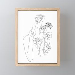 Minimal Line Art Woman with Flowers III Framed Mini Art Print