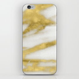 Marble - Gold Marble on White Pattern iPhone Skin