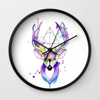harry potter Wall Clocks featuring Harry Potter Patronus by Simona Borstnar