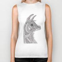 llama Biker Tanks featuring Llama by Olya Goloveshkina