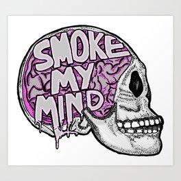 Smoke My Mind Skull Art Print