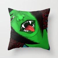 scream Throw Pillows featuring Scream by Sabrina Kee