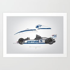 Outline Series N.º6, Nelson Piquet, Brabham BT-52 BMW, 1983 Art Print