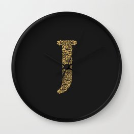 Floral Letter J Wall Clock