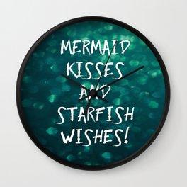 Mermaid Kisses and Starfish Wishes Wall Clock