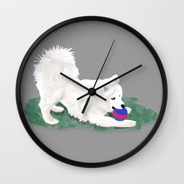 Ronin at Play; Samoyed Puppy Wall Clock