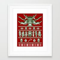 chrono trigger Framed Art Prints featuring Chrono Christmas Sweate by Legendary Phoenix