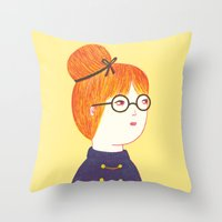 redhead Throw Pillows featuring Redhead by Ana Albero