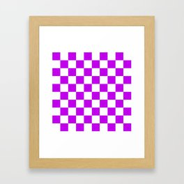 Cheerful Purple Checkerboard Pattern Framed Art Print