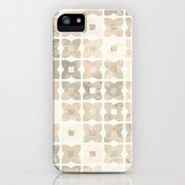 Geometric flower tiles pattern - Brown & Beige iPhone Case