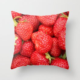 Ripe Red Strawberries Throw Pillow