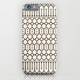 N79 - Farmhouse B&W Traditional Boho Moroccan Style Design. iPhone Case