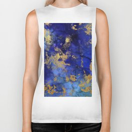 Gold And Blue Indigo Malachite Marble Biker Tank