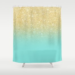 Charming Modern Chic Gold Glitter Ombre Robbin Egg Blue Color Block Shower Curtain