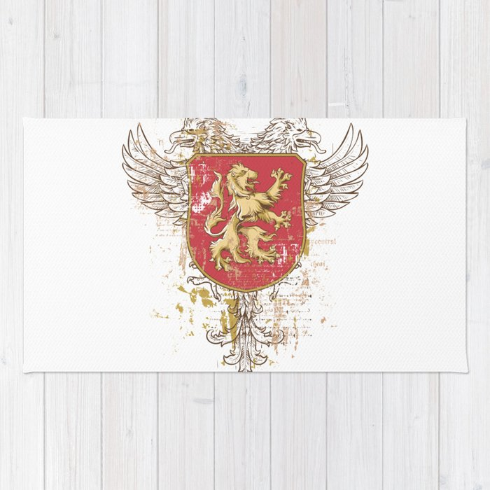 Coat of Arms Shield - Griffin Seal - Crown Lion and the Mark Rug
