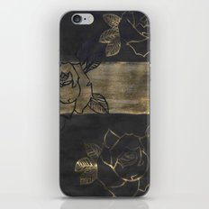 Feminine, Grung Print. Black and Gold Roses. iPhone & iPod Skin