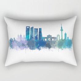 Madrid Spain city skyline watercolor art v03b UHD Rectangular Pillow