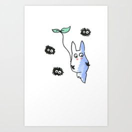 Flying totoro and dust bunnies Art Print
