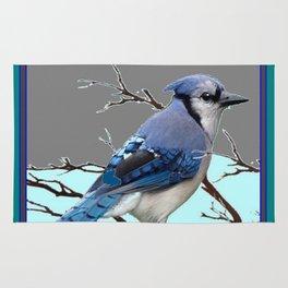 TEAL AMERICAN BLUE JAYS  GREY WINTER ART Rug