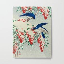 Ohara Koson Birds In Snow Japanese Woodblock Print Vintage Historical Japanese Art Metal Print