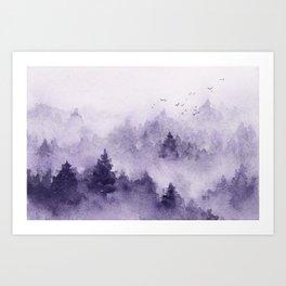 Purple misty forest Art Print