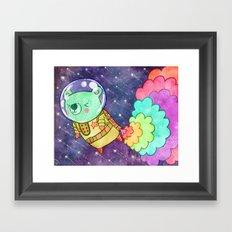 Flying to the Moon Bear Framed Art Print