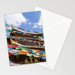 Tibetan temple with prayer flags Stationery Cards