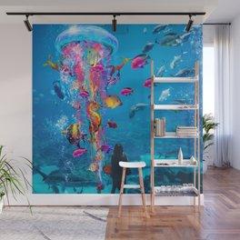 Electric Jellyfish in a Aquarium Wall Mural