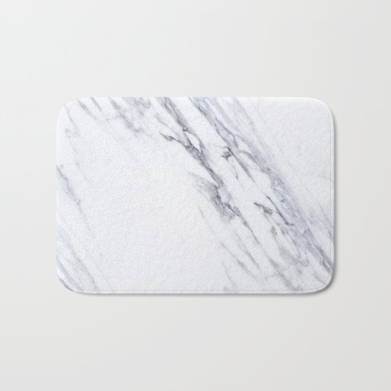 White Marble with Classic Black Veins Bath Mat