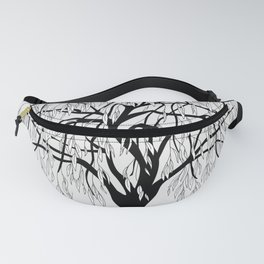 weeping willow on the gray background Fanny Pack