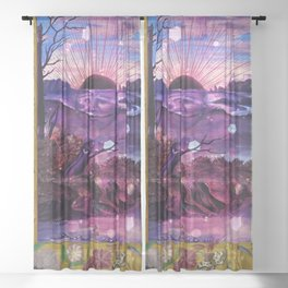 Black Sun Alchemy, Antique Alchemy Illustration Collage Sheer Curtain