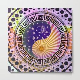 Vintage Sun Moon & Stars Yin & Yang Metal Print