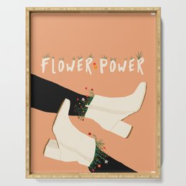 Flower Power Boots on Peach Background Serving Tray
