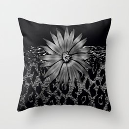 Animal Print Leopard Glam Flower Silver and Black Diamond Throw Pillow