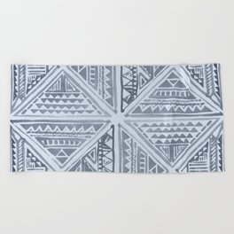 Simply Tribal Tile in Indigo Blue on Sky Blue Beach Towel