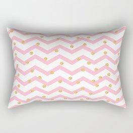 Trendy girly pink gold chevron zigzag polka dots Rectangular Pillow