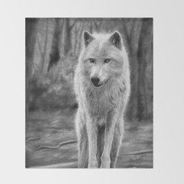 White Wolf in the Forest Throw Blanket